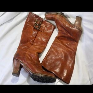 Heeled Frye Leather Boots